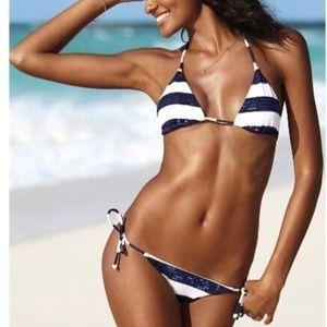 VS Sequin Blue & White Striped Bikini
